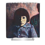 Young Girl In Blue Sweater Shower Curtain