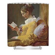 Young Girl Reading Shower Curtain