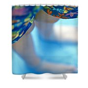 Young Girl Standing In Pool Shower Curtain