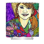 Young Girl With Cowboy Hat Shower Curtain