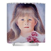 Young Girl With Roses Shower Curtain