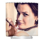 Young Glamour Lady With Gold Necklace Shower Curtain by Michal Bednarek
