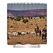 Young Goat Herders Shower Curtain by Priscilla Burgers
