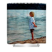 Young Lad By The Shore Shower Curtain