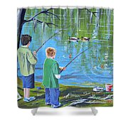 Young Lads Fishing Shower Curtain