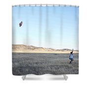 Young Lady Flies A Kite In An Open Shower Curtain
