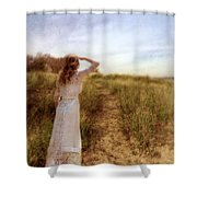 Young Lady In Vintage Clothing Watching A Biplane Shower Curtain