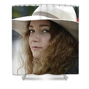 Young Lady With White Hat 1 Shower Curtain