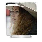 Young Lady With White Hat 2 Shower Curtain