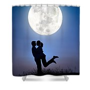 Young Lovers Embracing Before A Full Moon Shower Curtain
