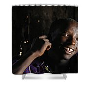 Young Maasai Warrior In The Village Shower Curtain