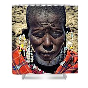Portrait Of Young Maasai Woman At Ngorongoro Conservation Tanzania Shower Curtain