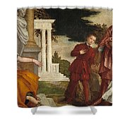 Young Man Between Vice And Virtue Shower Curtain