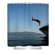 Young Man Flips Off A Boat At Sunset Shower Curtain