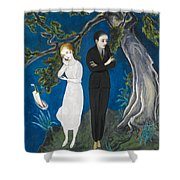 Young Man In Black. Girl In White Shower Curtain