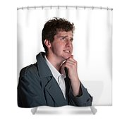 Young Man In Trench Coat Shower Curtain