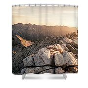 Young Man Scrambles To The Summit Shower Curtain