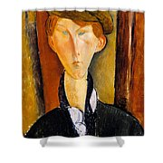 Young Man With Cap Shower Curtain