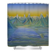 Young Mountains In Lofoten. Shower Curtain