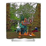 Young Musicians On Orange Day By A Canal In Enkhuizen-netherland Shower Curtain