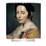 Young Peasant Woman Holding A Wine Flask Shower Curtain