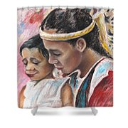 Young Polynesian Mama With Child Shower Curtain