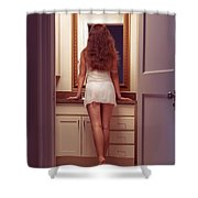 Young Sexy Woman At A Bathroom Mirror Shower Curtain