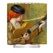 Young Spanish Woman With A Guitar Shower Curtain by Pierre Auguste Renoir