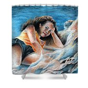 Young Tahitian Mermaid Shower Curtain