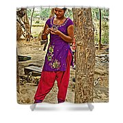 Young Tharu Village Woman In Traditional Nepali Clothing-nepal  Shower Curtain