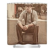Young Vintage Man Seated On Old Tv Shower Curtain