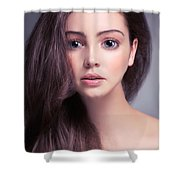 Young Woman Anime Style Beauty Portrait With Beautiful Large Gra Shower Curtain