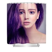 Young Woman Anime Style Beauty Portrait With Large Eyes And Purp Shower Curtain