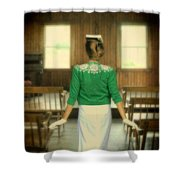Young Woman Balancing A Book On Her Head Shower Curtain