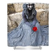 Young Woman Busker In Syracusa Sicily Shower Curtain