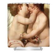 Young Woman Contemplating Two Embracing Children Detail II Shower Curtain