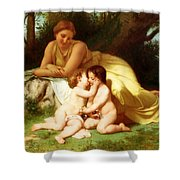 Young Woman Contemplating Two Embracing Children Shower Curtain