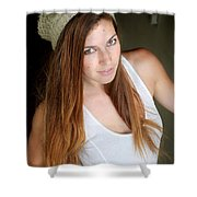 Young Woman Hallway Shower Curtain