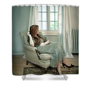 Young Woman In A Chair Shower Curtain