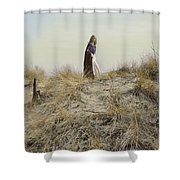 Young Woman In Cloak On A Hill Shower Curtain