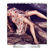 Young Woman In Dress Lying On Driftwood On A Shore Shower Curtain