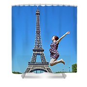 Young Woman Jumping Against Eiffel Tower Shower Curtain