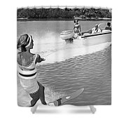 Young Woman Slalom Water Skis Shower Curtain