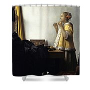 Young Woman With A Pearl Necklace Shower Curtain
