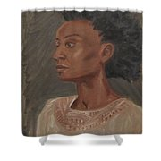 Young Woman With An Afro Shower Curtain