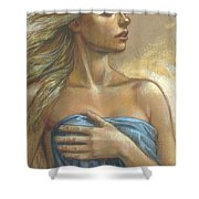 Young Woman With Blue Drape Crop Shower Curtain