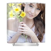 Young Woman With Flowers Shower Curtain by Brandon Tabiolo
