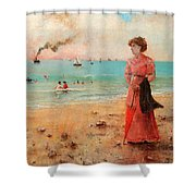 Young Woman With Red Umbrella Shower Curtain
