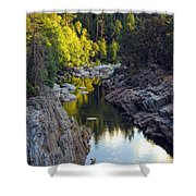 Yuba River Twilight Shower Curtain