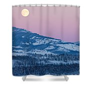 Yukon Canada Winter Landscape And Full Moon Rising Shower Curtain